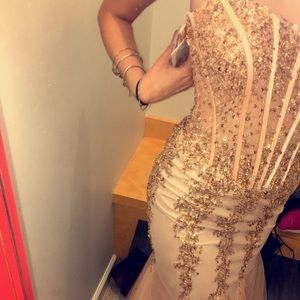 Jovani pink and rose gold mermaid prom dress